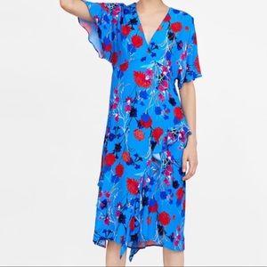 Zara Ruffle Floral Flutter Sleeve Midi Dress